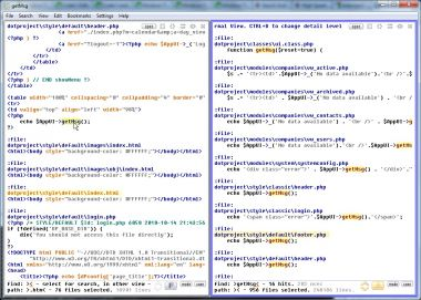 Browsing a mixture of HTML and PHP files in two windows.
